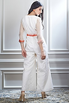 Ivory Hand Embroidered Jumpsuit by Mandira Wirk