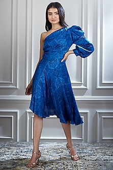 Blue One Shoulder Printed Dress by Mandira Wirk
