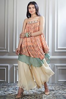 Orange Layered Top With Sharara Pants by Mandira Wirk