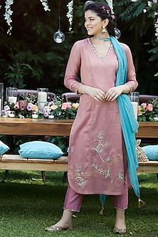 Rose Pink Sequins & Gotta Patti Embroidered Kurta Set by Mandira Wirk