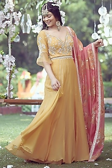 Yellow Embroidered Anarkali Set by Mandira Wirk