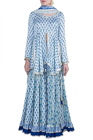 Blue Block Printed Gharara Set by Maayera Jaipur