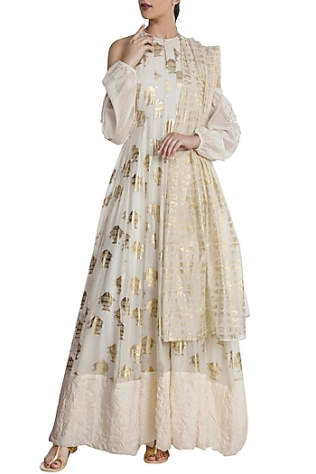Ivory Heritage Fish Print Anarkali Set by Masaba