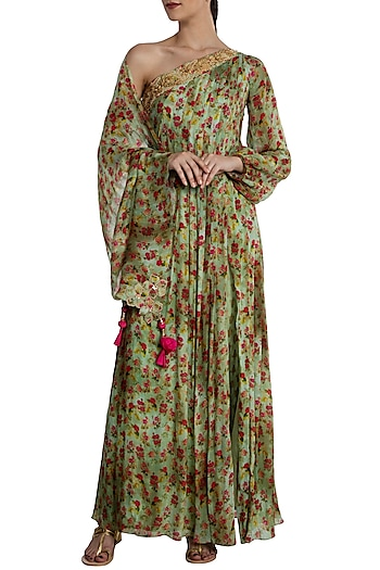 Mint Green Floral Bunch One Shoulder Anarkali by Masaba