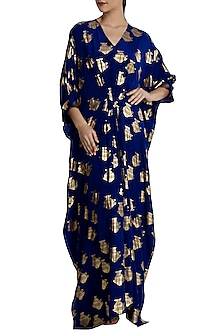 Blue Heritage Fish Foil Print Kaftan by Masaba-Shop By Style