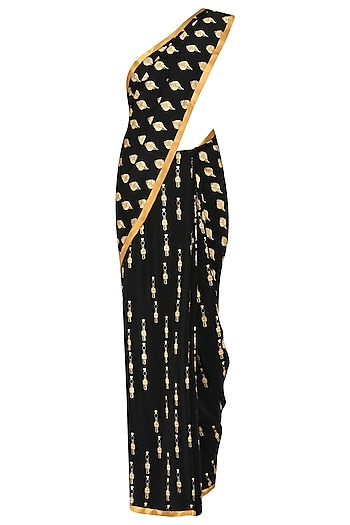 Black Shell and Tribal Man Saree with Gold Blouse Piece by Masaba