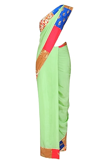 Mint Green Patchwork Border Saree with Floral Printed Blouse by Masaba