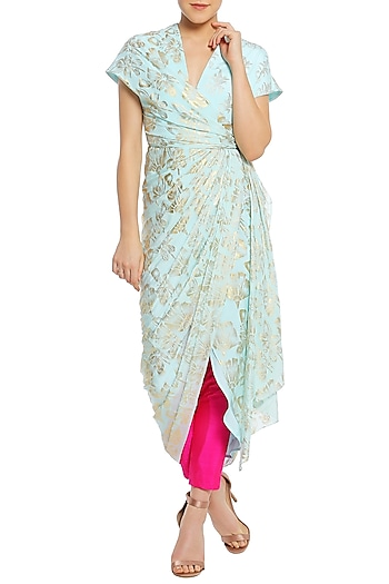 Ice Blue Printed Wrap Tunic with Fuchsia Pink Pants by Masaba