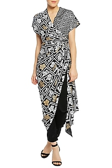 Black Printed Wrap Tunic with Pencil Pants by Masaba