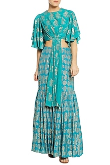 Teal Blue Printed Pleated Top with Gathered Skirt by Masaba