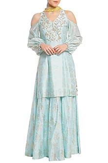 Ice Blue Printed Cold Shoulder Tunic with Lehenga Skirt Set by Masaba