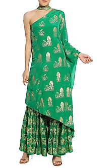 Green Printed One Shoulder Asymmetrical Tunic with Sharara Pants Set by Masaba-EDITOR'S PICK
