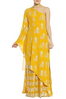 Yellow Printed One Shoulder Asymmetrical Tunic with Palazzo Pants Set by Masaba