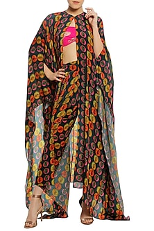 Multi-Coloured Printed Asymmetrical Cape with Dhoti Pants and Pink Bustier by Masaba