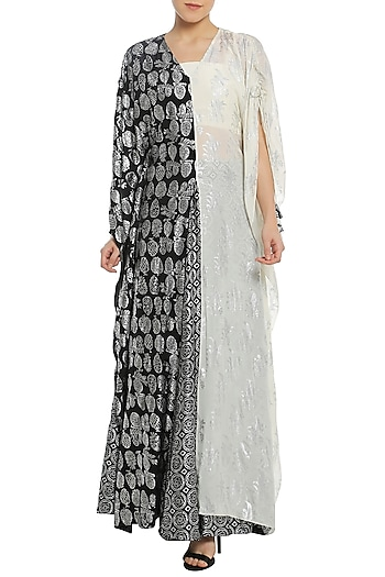 Black and White Half and Half Printed Kaftan with Lehenga Skirt by Masaba