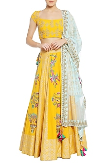 Yellow Tulip Embroidered Lehenga Set by Masaba