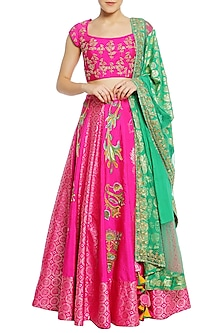 Fuschia Pink Tulip Embroidered Lehenga Set by Masaba