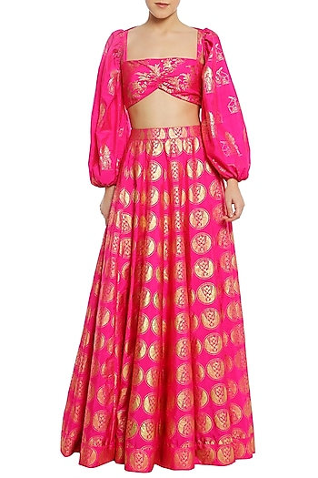 Fuschia Pink Printed Lehenga Skirt with Bustier and Shrug by Masaba