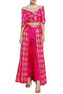 Fuschia Pink Printed Trouser Lehenga with Wrap Blouse by Masaba