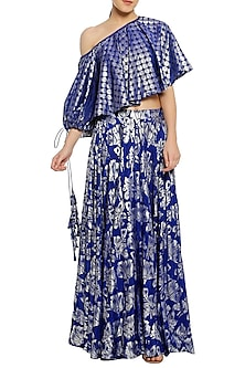Blue Printed Lehenga with One Shoulder Top by Masaba