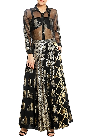 Black Patch Work Lehenga with Shirt and Bustier by Masaba