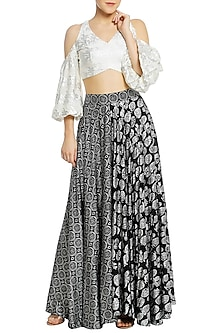 Black Half and Half Printed Lehenga with Ivory Cold Shoulder Blouse by Masaba