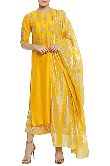 Yellow Embellished Kurta Set by Masaba