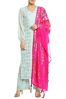 Ice Blue and Fuschia Pink Printed Kurta Set by Masaba-BEST SELLERS