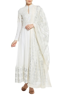 Ivory Printed and Embroidered Anarkali Set by Masaba