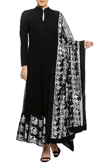 Black Printed and Embroidered Anarkali Set by Masaba