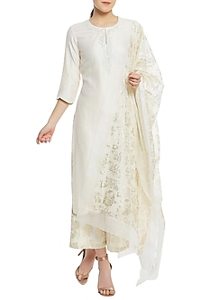 Ivory Pearl Embroidered Scallop Kurta Set by Masaba