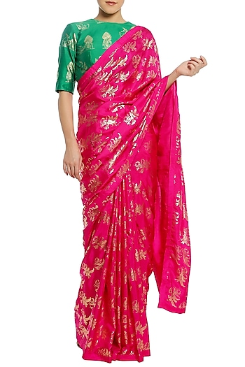 Fuschia Pink Printed Saree with Green Blouse Piece by Masaba