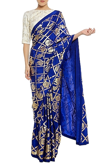 Blue Printed Saree with Ivory Blouse Piece by Masaba