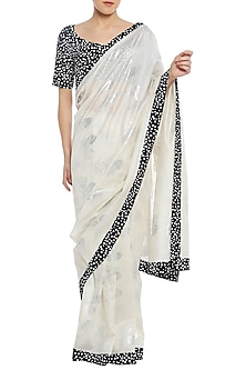 Ivory Printed Saree with Black Blouse Piece by Masaba