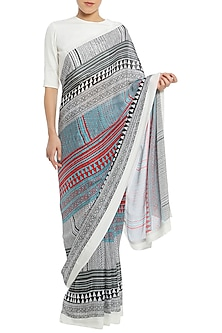 White Tribal Stripes Print Saree with Blouse Piece by Masaba