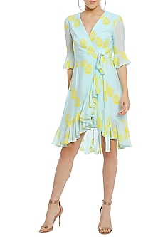 Ice Blue Polka Printed Wrap Dress by Masaba