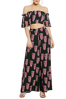 Green Off Shoulder Printed Crop Top with Palazzo Pants by Masaba