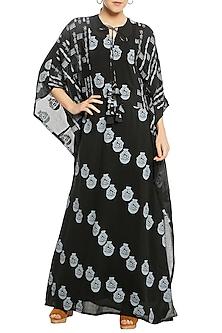 Black Printed Patchwork Kaftan by Masaba