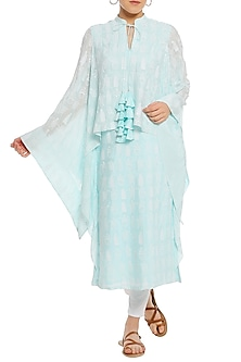 Ice Blue Printed Cape Sleeves Tunic by Masaba