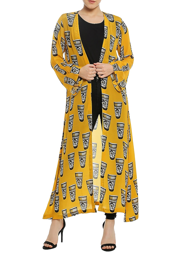 Yellow Printed Front Open Jacket by Masaba