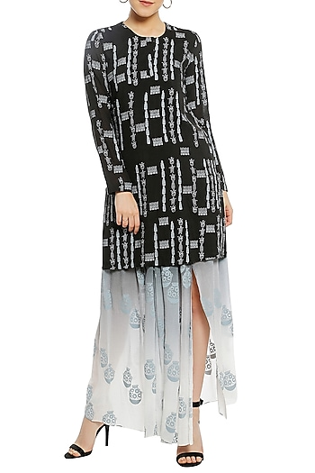 Black Ombre Printed Kurta with Drape Skirt by Masaba