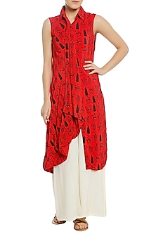Red Printed Drape Tunic with White Palazzo Pants by Masaba
