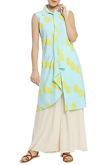 Ice Blue Printed Drape Tunic with White Palazzo Pants by Masaba