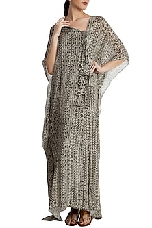 Grey Bird'S Eye Motif Pleated Kaftan by Masaba