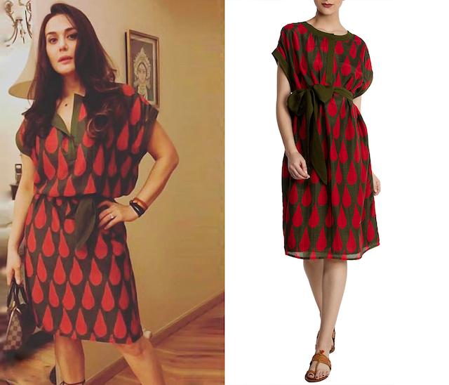 Red Tear Drop Gathered Dress by Masaba