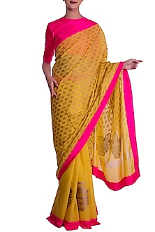 Spicy Mustard Tribal Vase And Kalash Print Saree with Blouse Piece by Masaba
