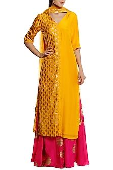 Canary Yellow Kalash Printed Kurta with Pink Palazzo Pants Set by Masaba