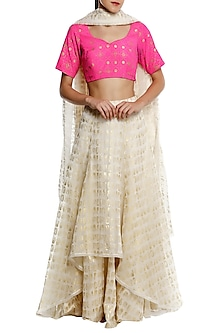 Pink Printed Blouse with Ivory High-Low Gold Leaf Foil Print Lehenga Set