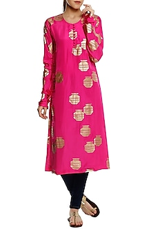Pink Tribal Vase Print Long Kurta by Masaba