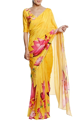 Yellow Big Lotus Print Saree with Unstitched Blouse Piece by Masaba